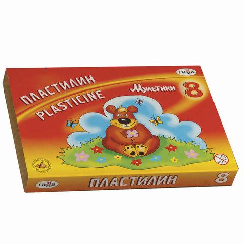"""Пластилин классический ГАММА """"Мультики"""", 8 цветов, 160 г, со стеком, картонная упаковка"""