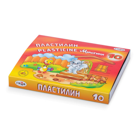 """Пластилин классический ГАММА """"Мультики"""", 10 цветов, 200 г, со стеком, картонная упаковка"""