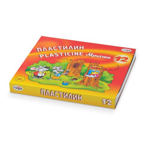 """Пластилин классический ГАММА """"Мультики"""", 12 цветов, 240 г, со стеком, картонная упаковка"""