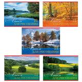 Альбом для рисования, 24 л., HATBER, обложка мелованный картон, 100 г/<wbr/>м<sup>2</sup>, «Русские просторы» (5 видов), 24А4В