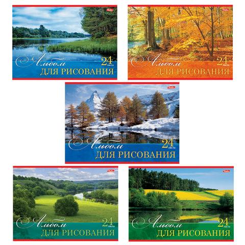 """Альбом для рисования, 24 л., HATBER, обложка мелованный картон, 100 г/м2, """"Русские просторы"""" (5 видов), 24А4В"""