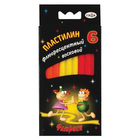 """Пластилин восковой флуоресцентный ГАММА """"Флюрики"""", 6 цветов, 76 г, со стеком, европодвес"""