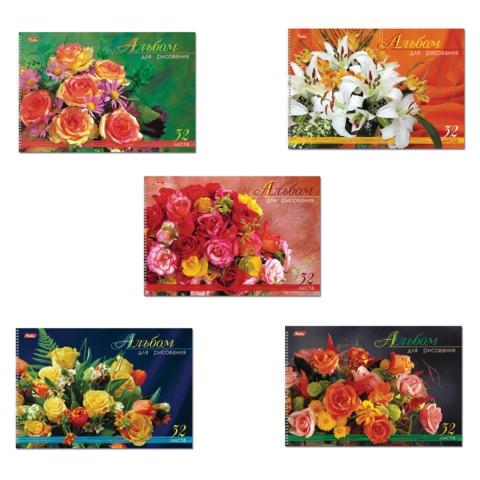 """Альбом для рисования, 32 л., HATBER, спираль, блестки, 100 г/м2, """"Роскошные цветы"""" (5 видов), 32А4блВсп"""