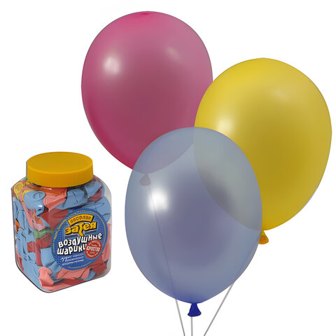 """Шары воздушные 10"""" (25 см), комплект 200 шт., 14 цветов, в банке"""