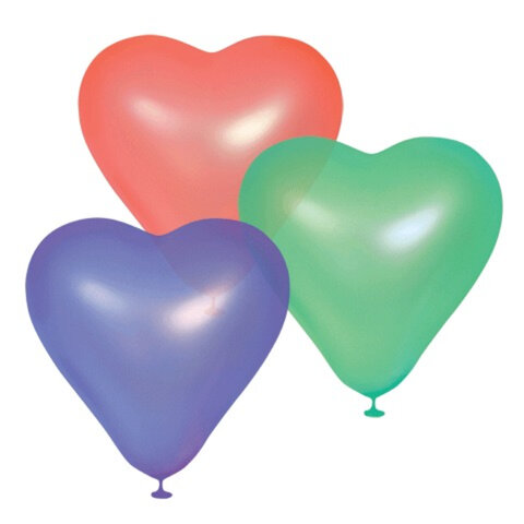 """Шары воздушные 10"""" (25 см), комплект 100 шт., «Сердце», 12 неоновых цветов, в пакете"""