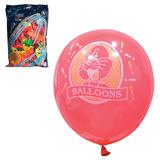 """Шары воздушные 10"""" (25 см), комплект 100 шт., 12 неоновых цветов, 8 рисунков, в пакете"""