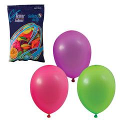 """Шары воздушные 10"""" (25 см), комплект 100 шт., 12 неоновых цветов, в пакете"""