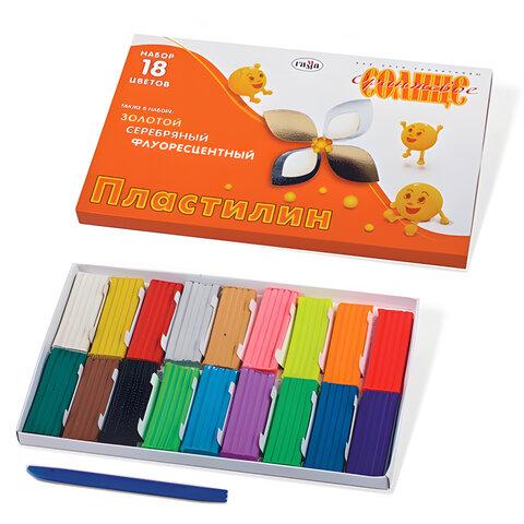 Пластилин ГАММА «Оранжевое солнце», 18 цветов (6 стандартных, 6 флуоресцентных, 6 перламутровых)