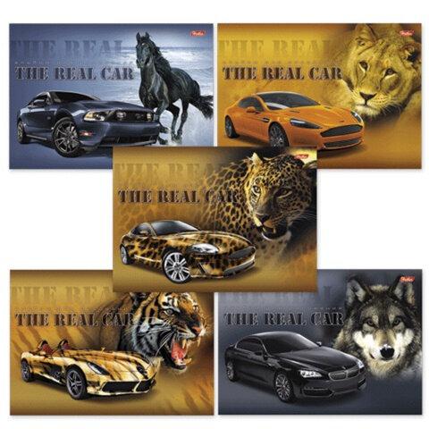 """Альбом для рисования, 24 л., HATBER, спираль, обложка мелованный картон, 100 г/м2, """"Real Car"""" (""""Машины"""") (5 видов), 24А4Всп"""