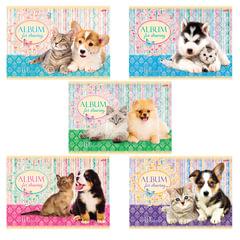 Альбом для рисования, 40 л., HATBER, обложка мелованный картон, 100 г/<wbr/>м<sup>2</sup>, «Маленькие друзья» (5 видов), 40А4В