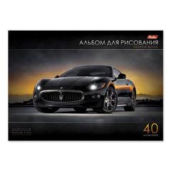 Альбом для рисования, 40 л., HATBER, склейка, выборочный лак, 120 г/<wbr/>м<sup>2</sup>, «АвтоЛюкс», 40А4вмВк 07350