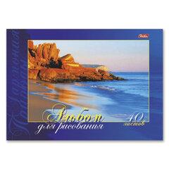 Альбом для рисования, 40 л., HATBER, склейка, жесткая подложка, 120 г/<wbr/>м<sup>2</sup>, «Гармония природы», 40А4вмAк 07344