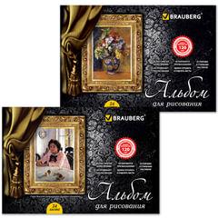 Альбом для рисования, 24 л., BRAUBERG, гребень, обложка мелов. картон, выб. лак, 120 г/<wbr/>м<sup>2</sup>, «Мастера живописи», 2 вида