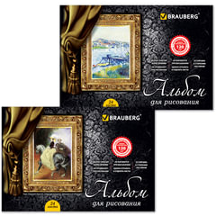 Альбом для рисования, 24 л., BRAUBERG, гребень, обложка мелов. картон, выб. лак, 120 г/<wbr/>м<sup>2</sup>, «Великие художники», 2 вида