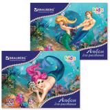 Альбом для рисования, 20 л., BRAUBERG (БРАУБЕРГ), детская серия, обложка мелованный картон, «Морские истории», 2 вида