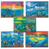 Альбом для рисования, 12 л., HATBER VK, обложка офсет, 100 г/<wbr/>м<sup>2</sup>, «Дельфины» (5 видов), 12А4C