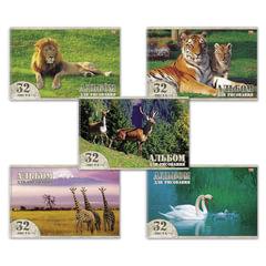 Альбом для рисования, 32 л., HATBER VK, спираль, обложка мелованный картон, 100 г/<wbr/>м<sup>2</sup>, «Животный мир» (5 видов), 32А4Cсп