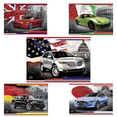 Альбом для рисования, 40 л., HATBER, выборочный лак, 100 г/<wbr/>м<sup>2</sup>, «Country Cars» («Авто»), 40А4вмB