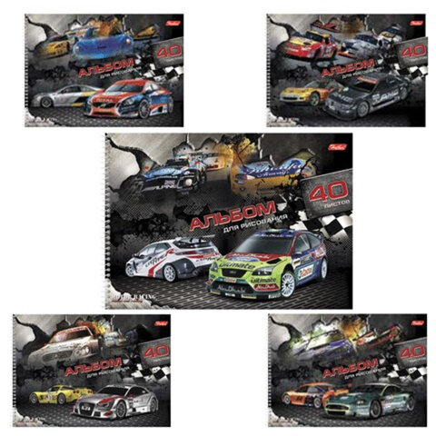 """Альбом для рисования, 40 л., HATBER, спираль, выборочный лак, 100 г/м2, """"Racing"""" (""""Авто"""") (5 видов), 40А4вмBсп"""