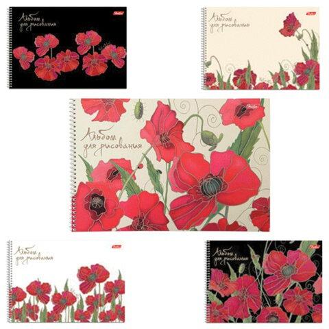 """Альбом для рисования, 40 л., HATBER, спираль, обложка мелованный картон, 100 г/м2, """"Маки"""" (5 видов), 40А4Bсп"""