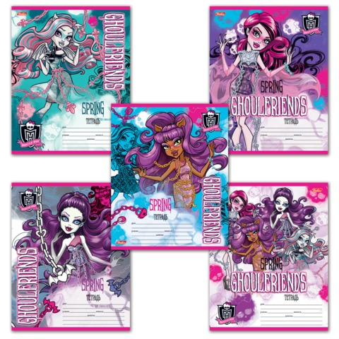 "Тетрадь 12 л., HATBER, клетка, блестки, ""Monster High"", 12Т5блB1"