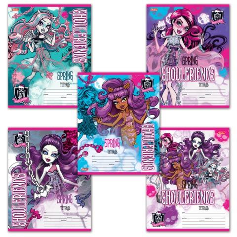 Тетрадь 12 л., HATBER, клетка, блестки, «Monster High», 12Т5блB1