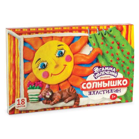 """Пластилин классический ГАММА УВЛЕЧЕНИЙ """"Солнышко"""", 18 цветов, 360 г, со стеком, картонная упаковка"""