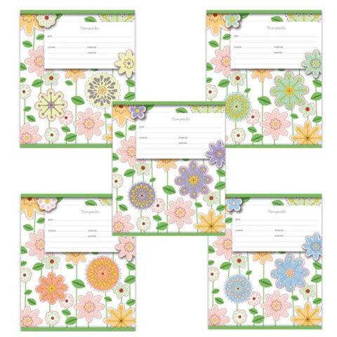 Тетрадь 12 л., ERICH KRAUSE, клетка, обложка мелованный картон, «Fleur design» («Цветы»)