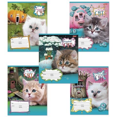 Тетрадь 12 л., HATBER, клетка, обложка мелованный картон, «Котята в сказочной стране»