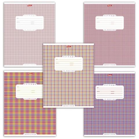 Тетрадь 12 л., HATBER, клетка, обложка мелованный картон, «Шотландка — 1»