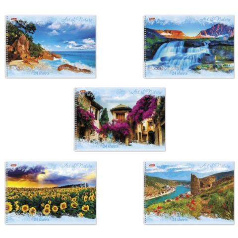 Альбом для рисования, 24 л., HATBER, спираль, тиснение, 100 г/<wbr/>м<sup>2</sup>, «Дыхание природы»