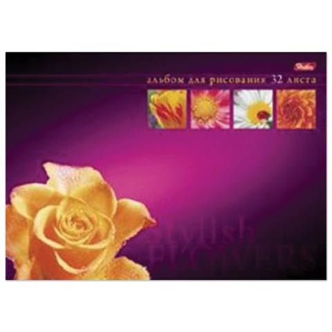 Альбом для рисования, 32 л., HATBER, склейка, жесткая подложка, 120 г/<wbr/>м<sup>2</sup>, «Магия цветов»