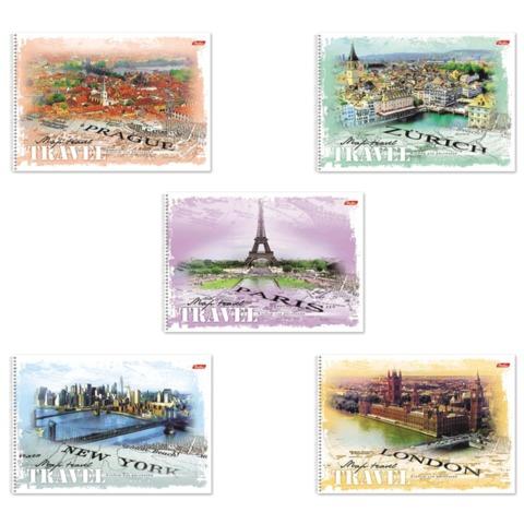 Альбом для рисования, 32 л., HATBER, спираль, обложка мелованный картон, 100 г/<wbr/>м<sup>2</sup>, «TRAVEL» («Города»)
