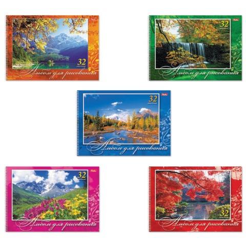 Альбом для рисования, 32 л., HATBER, спираль, обложка мелованный картон, 100 г/<wbr/>м<sup>2</sup>, «Великолепные пейзажи»