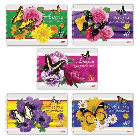 Альбом для рисования, 40 л., HATBER, спираль, фактурное тиснение, 100 г/<wbr/>м<sup>2</sup>, «Бабочки с цветами»