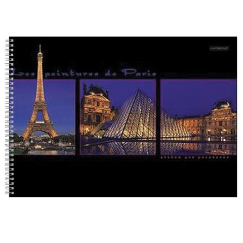 Альбом для рисования (скетчбук), 48 л., HATBER HD, спираль, жесткая подложка, 120 г/<wbr/>м<sup>2</sup>, «Париж», 48А4вмAсп 09931