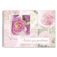 Альбом для рисования (скетчбук), 48 л., HATBER HD, спираль, жесткая подложка, 120 г/<wbr/>м<sup>2</sup>, «Цветы», 48А4вмAсп 09930