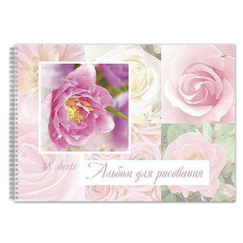 Альбом для рисования (скетчбук), 48 л., HATBER HD, спираль, жесткая подложка, 120 г/<wbr/>м<sup>2</sup>, «Цветы»