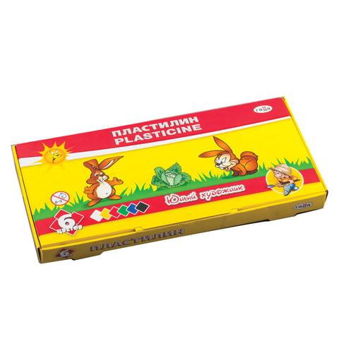 """Пластилин классический ГАММА """"Юный художник"""", 6 цветов, 84 г, со стеком, картонная упаковка"""