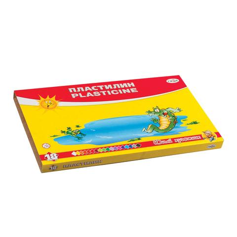 """Пластилин классический ГАММА """"Юный художник"""", 18 цветов, 252 г, со стеком, картонная упаковка"""