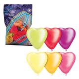 """Шары воздушные 10"""" (25 см), комплект 50 шт., «Сердце», 12 неоновых цветов, в пакете"""
