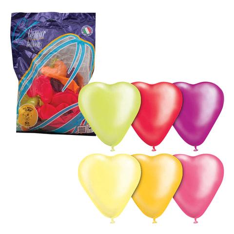 """Шары воздушные 10"""" (25 см), комплект 50 шт., """"Сердце"""", 12 неоновых цветов, в пакете"""