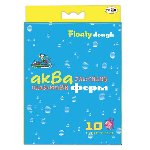"""Пластилин плавающий ГАММА """"Акваформ"""", 10 цветов, 42 г, со стеком, картонная упаковка, европодвес"""