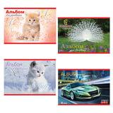 Альбом для рисования, 40 л., АППЛИКА, тиснение, 140 г/<wbr/>м<sup>2</sup>, «Автомобили/<wbr/>Котята»