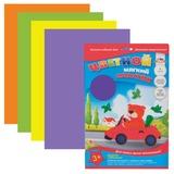 Цветной мягкий пластик (фоамиран) для творчества, А4, толщина 1 мм, 4 листа, 4 цвета, АППЛИКА