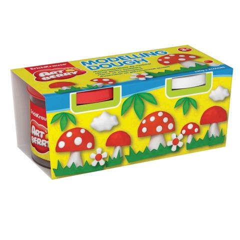 """Пластилин на растительной основе (тесто для лепки) ERICH KRAUSE """"Artberry"""", 2 цвета, красный + белый"""