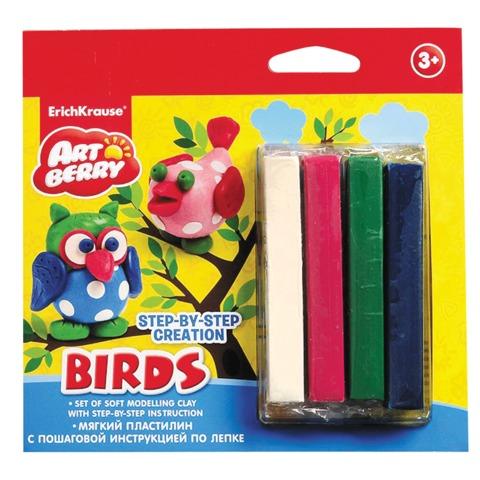 Пластилин мягкий ERICH KRAUSE Artberry «Birds» («Птицы»), 4 цвета, 60 г
