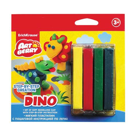 "Пластилин мягкий ERICH KRAUSE Artberry ""Dino"" (""Динозавры""), 4 цвета, 60 г, европодвес"