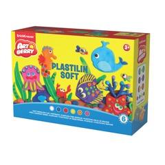 Пластилин мягкий ERICH KRAUSE Artberry, 6 цветов, 300 г, стек, валик, 8 формочек, картонная упаковка