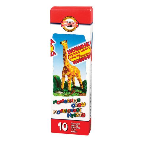 """Пластилин классический KOH-I-NOOR """"Жираф"""", 10 цветов, 200 г, картонная упаковка"""